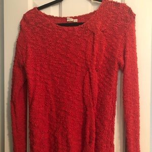 Anthropologie Red/ Orange cable knit sweater